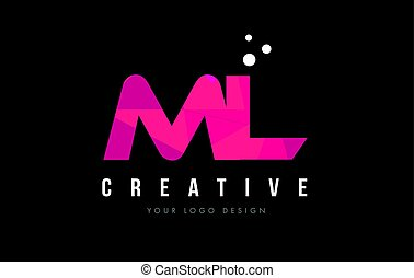 ML M L Letter Logo with Purple Low Poly Pink Triangles...