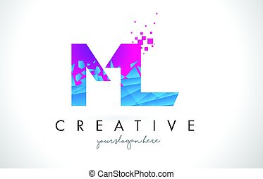 ML M L Letter Logo with Shattered Broken Blue Pink Texture...