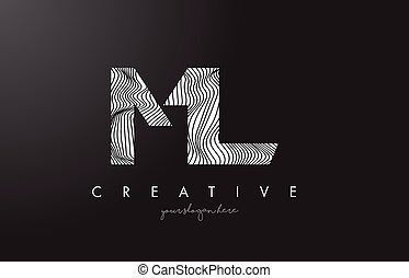 ML M L Letter Logo with Zebra Lines Texture Design Vector. -...