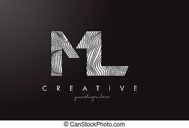 ML M L Letter Logo with Zebra Lines Texture Design Vector. -...