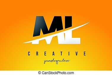 ML M L Letter Modern Logo Design with Yellow Background and...