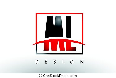 ML M L Logo Letters with Red and Black Colors and Swoosh....