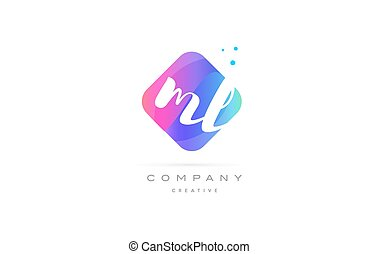 ml m l pink blue rhombus abstract hand written company...