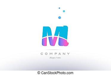 ml m l pink blue white modern alphabet letter logo icon...