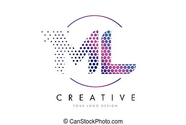 ML M L Pink Magenta Dotted Bubble Letter Logo Design Vector...