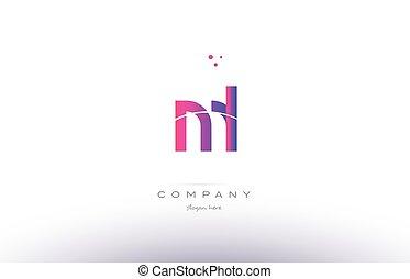 ml m l pink modern creative alphabet letter logo icon...