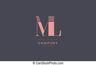 ml m l pink vintage retro letter company logo icon design -...