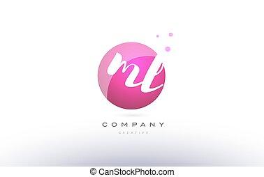ml m l sphere pink 3d hand written alphabet letter logo - ml...