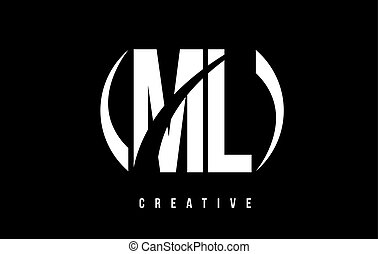ML M L White Letter Logo Design with Black Background. - ML...