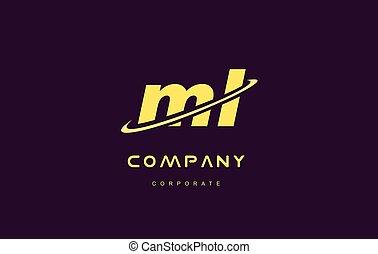 ml small alphabet yellow letter logo vector icon design - ml...