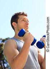 mladík, činnost, jeho, cvičení, od park