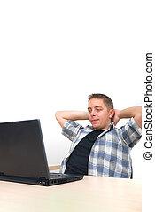 mladík, pracovní oproti, počítač na klín