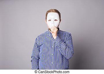 mladík, useň zadnice, neposkvrněný, maskovat, dále, jeden, fádní grafické pozadí