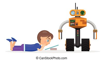 mladý sluha, lies, a, číst, u, robot, ilustrace