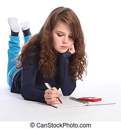 mladistvý, děvče, matematika, domácí práce, s, kalkulačka