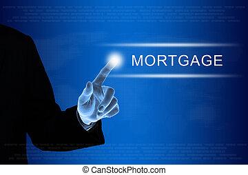 mlaszcząc, hipoteka, handlowy, finansowy, dotknijcie osłaniają, ręka, guzik