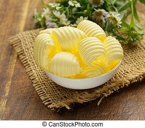 mleczarnia, świeży, masło, żółty