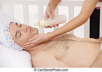 mleczny, łóżko, niemowlę, dorosły, prospekt, bed., bok, ...
