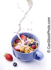 mleczny, owoc, śniadaniowe zboże, rano