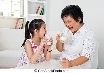 mleczny, picie, dom