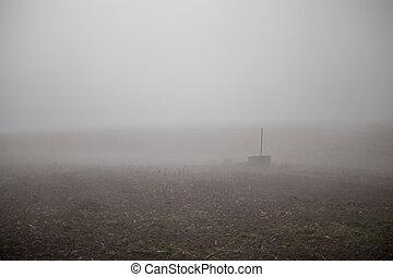 mlha, mlhavý, častý, den, bojiště, podzim