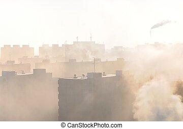 mlha, sídliště vně města, smog