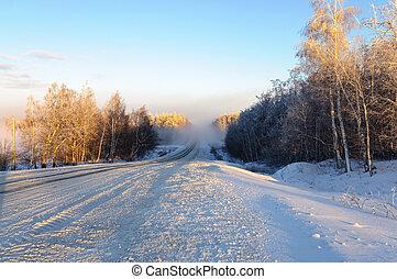 mlha, zima, cesta
