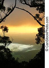 mlhavý, údolí, východ slunce