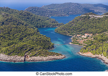 Mljet - Aerial helicopter shoot of sea entrance of the...