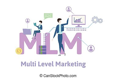 MLM, multi-level marketing. Concept table with keywords, letters and icons. Colored flat vector illustration on white background.