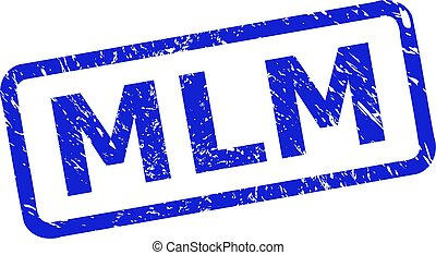Blue MLM stamp seal on a white background. Flat vector scratched seal stamp with MLM text is inside rounded rect frame. Imprint with grunged surface.