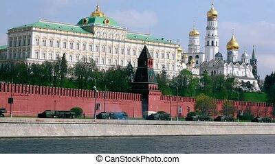 MLRS 9K58 Tornado motorcade ride by quay of Moscow Kremlin,...