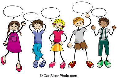 mluvící, děti