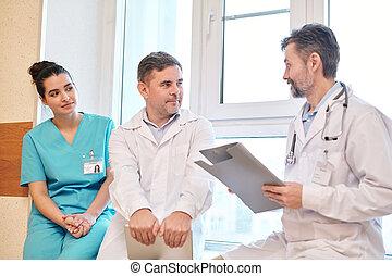 mluvící, kolem, čerstvý, kolega, pacient, léčení
