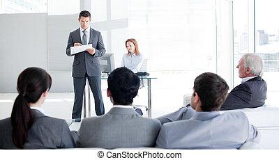 mluvící, teamleader, jeho, kolega