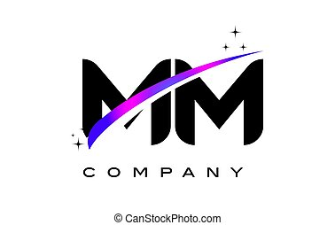 MM M M Black Letter Logo Design with Purple Magenta Swoosh...