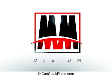MM M M Logo Letters with Red and Black Colors and Swoosh....