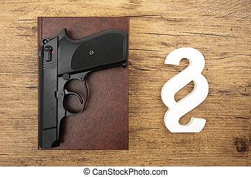 mm, symbole, paragraphe, neuf, pistolet