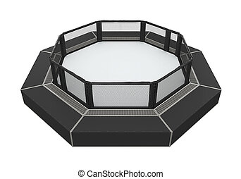 MMA Cage Arena isolated on white background. 3D render