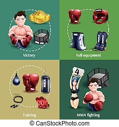 Mma fighting 4 3d icons square