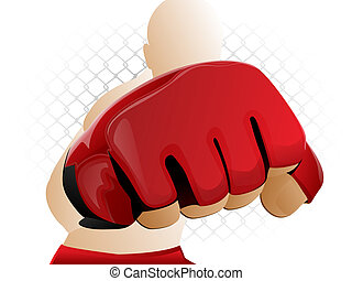 Mixed Martial Arts Fighter Punching with Padded Glove