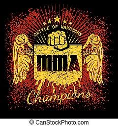 MMA labels on grunge background. Vector illustration.