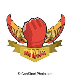 MMA logo. Fighting glove. Emblem for sports team and club. Combat badge for athletes