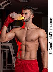 mma, lutador, com, proteína, shaker