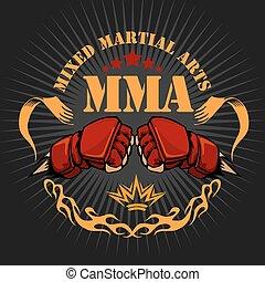 mma, mescolato, arti marziali, emblema, tesserati magnetici