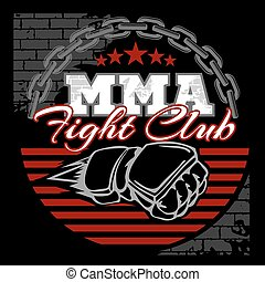 MMA mixed martial arts emblem badges on a black background.
