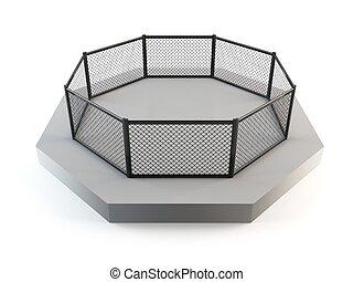 MMA octagon ring - 3D rendering of a mixed martial arts...