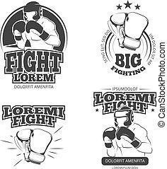 MMA vector vintage emblems, labels, badge, logos