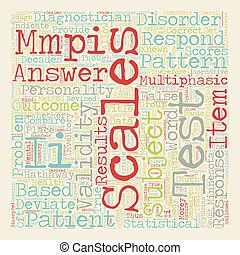 MMPI II Test text background wordcloud concept