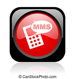 mms black and red square web glossy icon